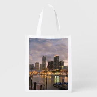 Miami financial skyline at dusk