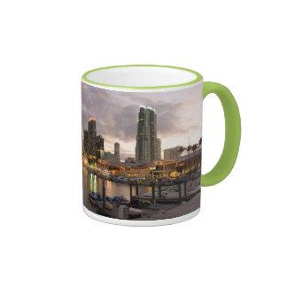 Miami financial skyline at dusk coffee mug