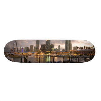 Miami financial skyline at dusk skate board deck
