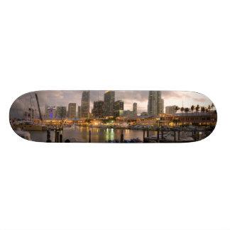 Miami financial skyline at dusk skate board deck