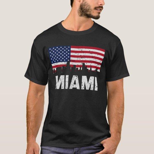 Miami FL American Flag Skyline Distressed T-Shirt