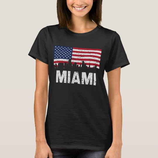 Miami FL American Flag Skyline Distressed T-Shirt