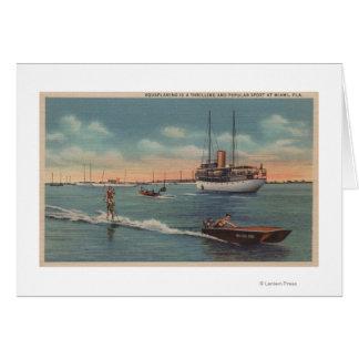 Miami, FL - Water Skiing Scene, Wooden Boat Greeting Card