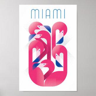 Miami Flamingo Color Poster