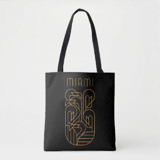 Miami Flamingo Gold Tote Bag