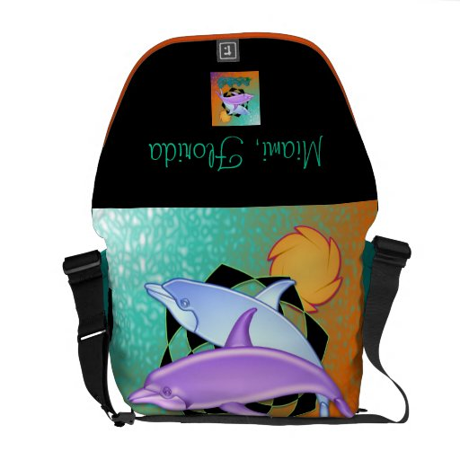 Miami Florida - Dolphins Rickshaw Messenger Bag