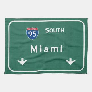 Miami Florida fl Interstate Highway Freeway : Tea Towel