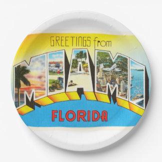 Miami Florida FL Old Vintage Travel Souvenir 9 Inch Paper Plate