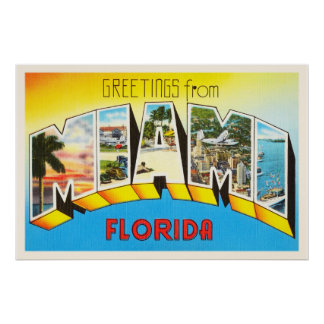 Miami Florida FL Old Vintage Travel Souvenir Poster