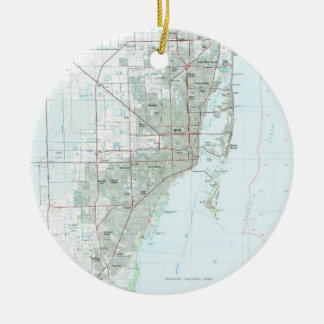 Miami Florida Map (1981) Ceramic Ornament