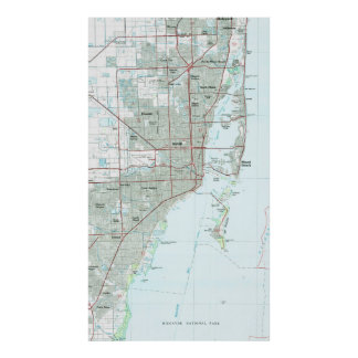 Miami Florida Map (1981) Poster