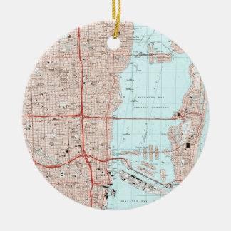 Miami Florida Map (1988) Ceramic Ornament