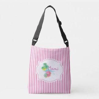 Miami, Florida, Palms, Flowers, Pink Stripes Crossbody Bag