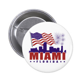 Miami Florida Patriotic Button