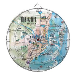 Miami Florida Retro Map Dartboard