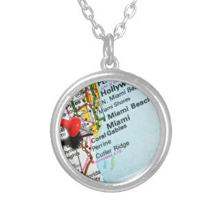 Miami, Florida Silver Plated Necklace