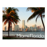 Miami Florida Skyline and Harbour At Night- USA Postcard