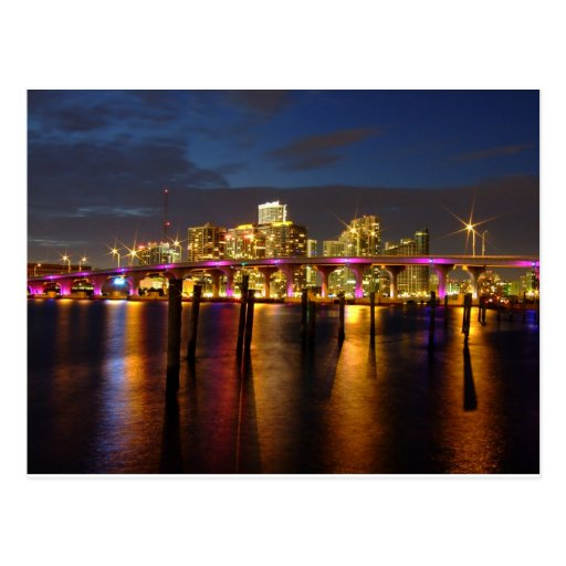 Miami Florida Skyline at night Postcard
