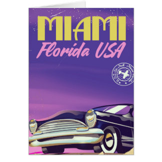 Miami Florida USA vintage poster Card