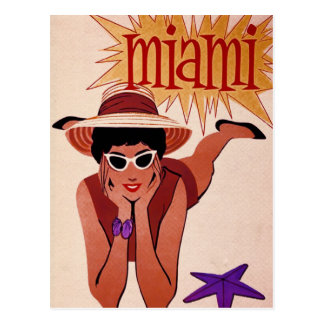Miami, Florida - Vintage Travel Advert Postcard