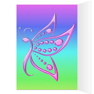 Miami Gold Butterfly and Cool Pastel Rainbow Greeting Card