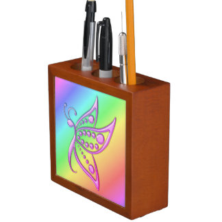 Miami Gold Butterfly Dots and Pastel Rainbow Desk Organiser