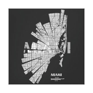 Miami Map Wrapped Canvas Canvas Prints
