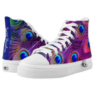Miami Paradise peacock feathers in bright colours High Tops