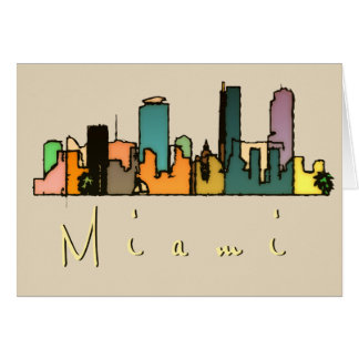 Miami Skyline Art Card