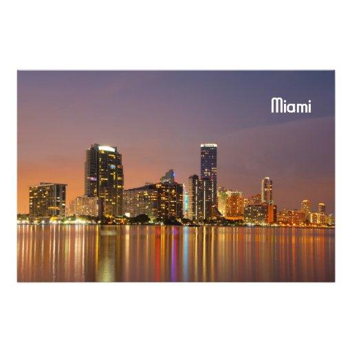 Miami Skyline at Dusk Photo