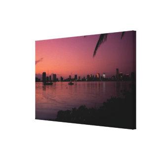 Miami Skyline at Sunset Canvas Print