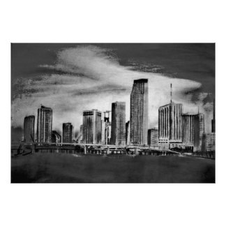 Miami Skyline Charcoal Poster