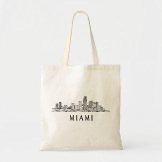 Miami skyline drawing tote bag