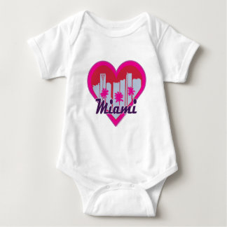 Miami Skyline Heart Baby Bodysuit