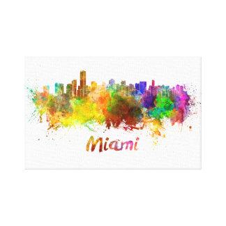 Miami skyline in watercolor canvas print