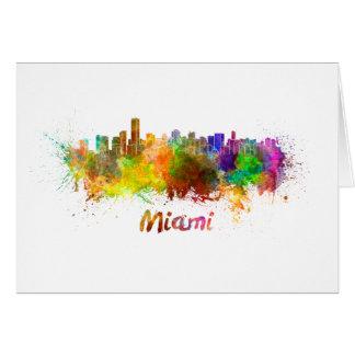 Miami skyline in watercolor card