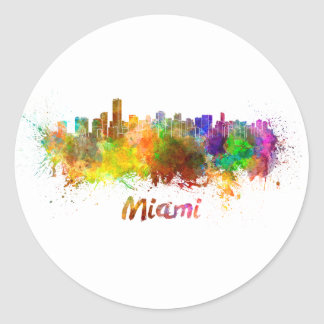 Miami skyline in watercolor classic round sticker