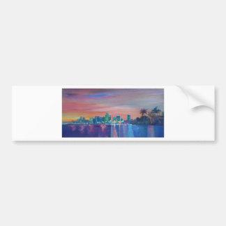 Miami Skyline Silhouette At Sunset In Florida Bumper Sticker