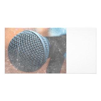 mic close up photo grunge overlay color music customized photo card