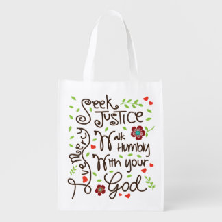 Micah 6 8 Seek Justice Love Mercy Walk Humbly Reusable Grocery Bag