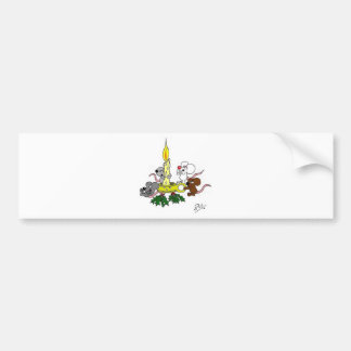 Mice and the christmas candle bumper sticker