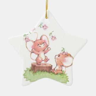 Mice having a little summer fun ceramic star decoration