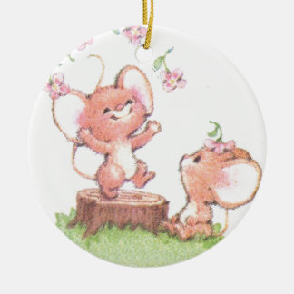 Mice having a little summer fun round ceramic decoration