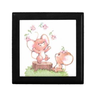 Mice having a little summer fun small square gift box