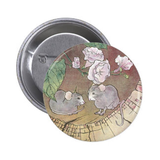 Mice in Log with Roses Pins