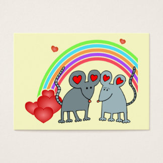 Mice in Love Rainbow Valentines Mini Kids Cards