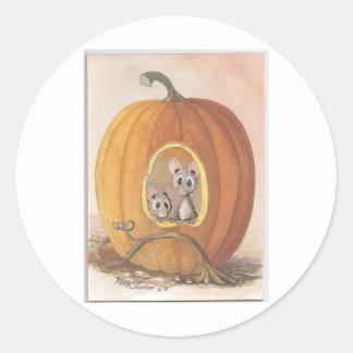 mice inside pumpkin classic round sticker