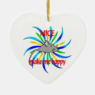 Mice Make Me Happy Ceramic Heart Decoration