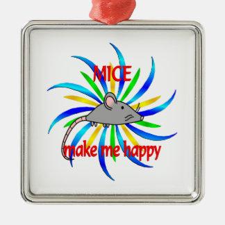 Mice Make Me Happy Silver-Colored Square Decoration