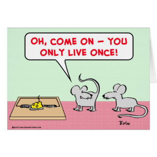 mice mousetrap only live once card